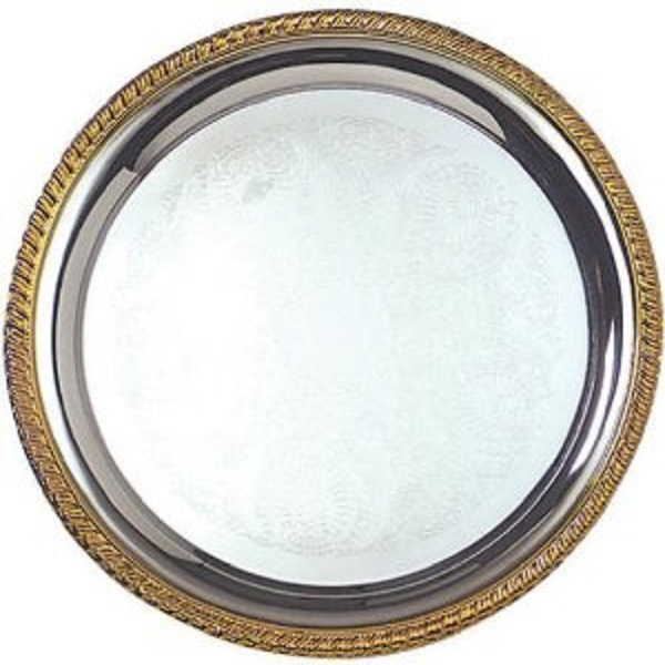 Where to find 20  Round Gold Trim Tray in Fresno